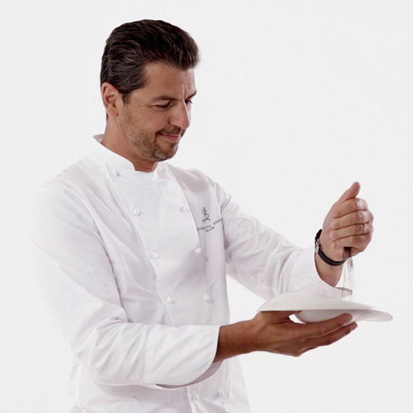 Andrea Berton, a chef who has earned his fame and various awards 'on the field'.
