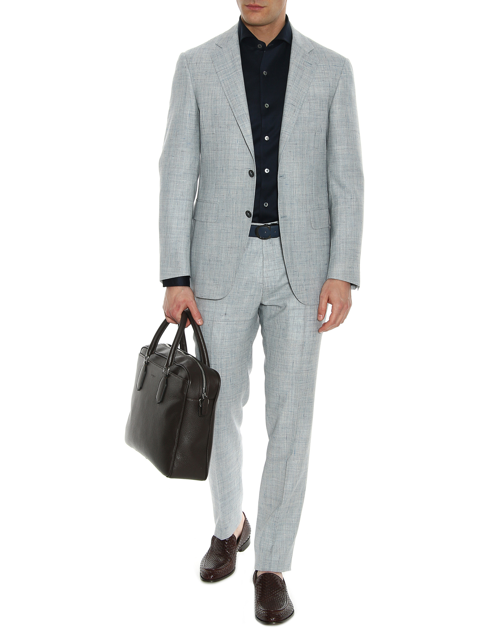 Gray and blue wool-silk-linen Kei suit with stretch