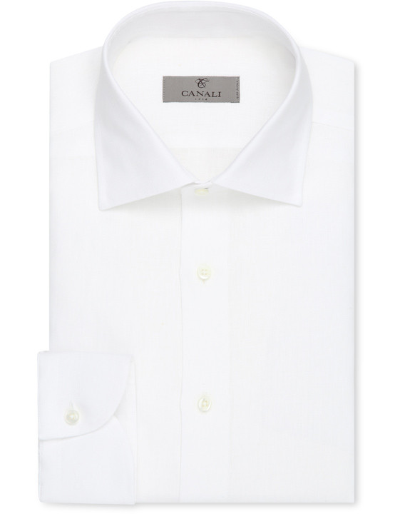 White linen slim fit dress shirt
