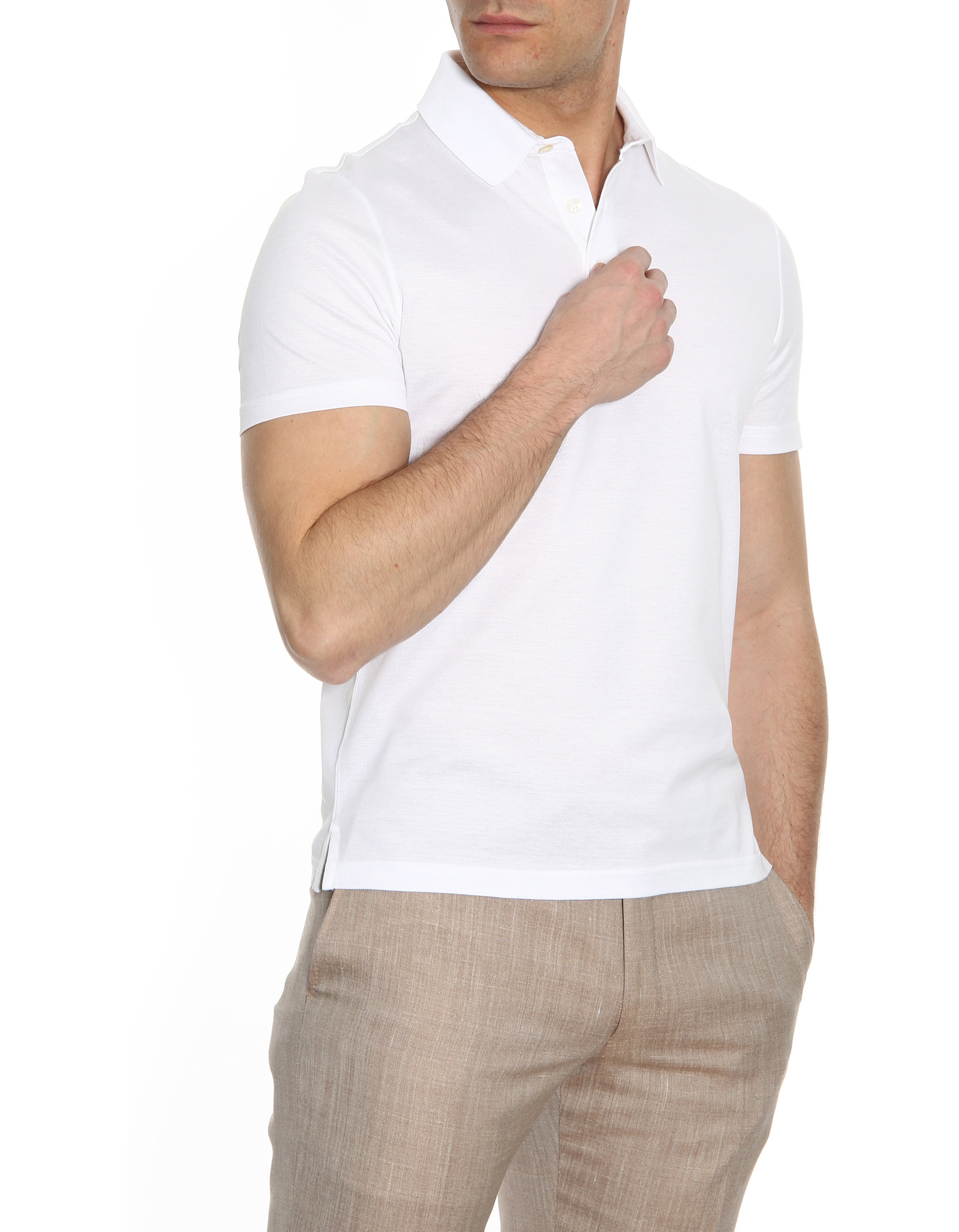 White pique oxford polo