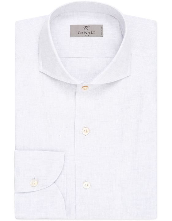 Light gray slim fit linen shirt with French collar