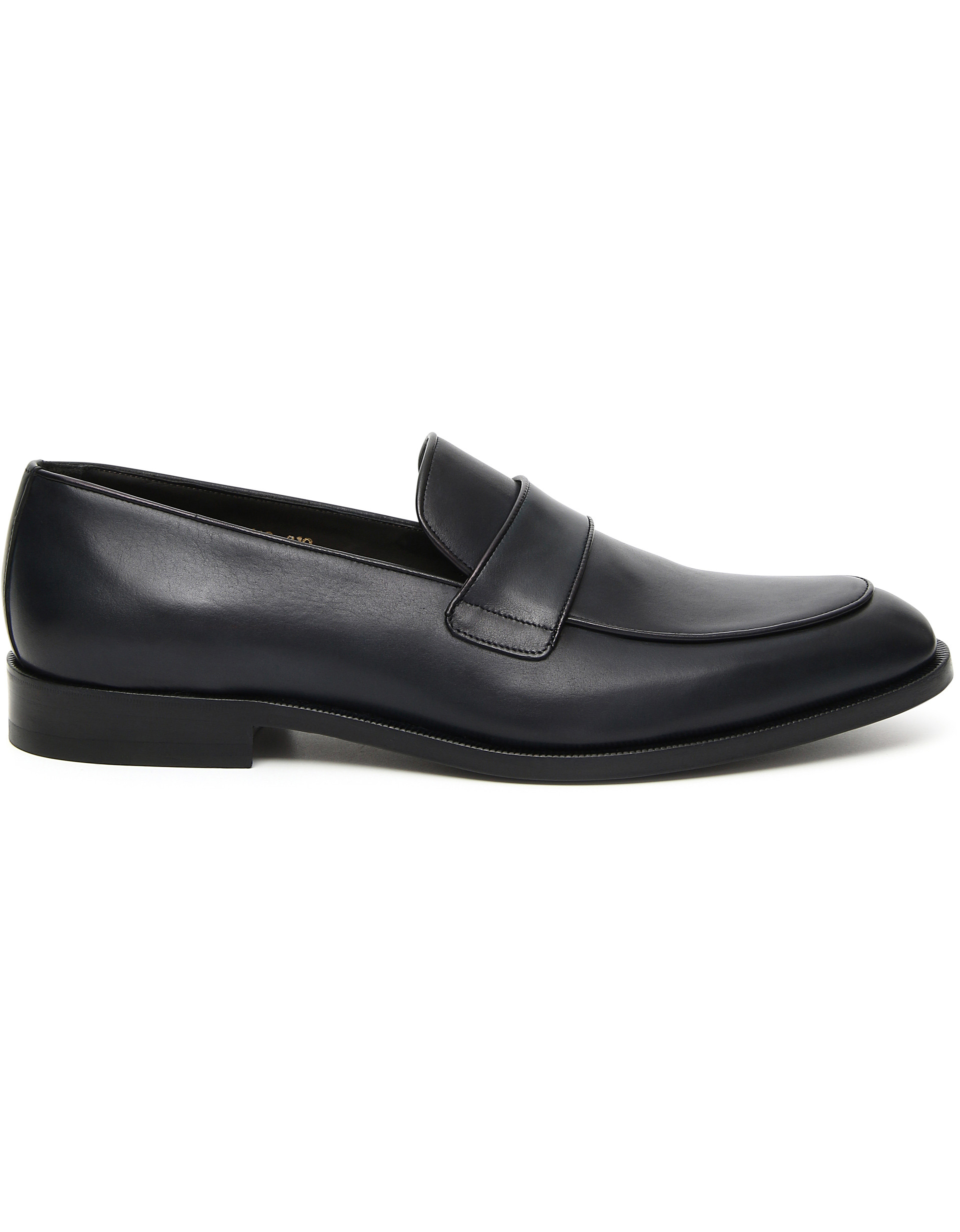 Navy blue loafers in buffed calfskin