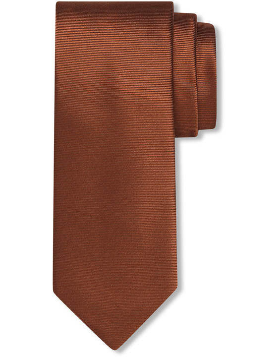 Cognac pure silk tie with ribbed effect
