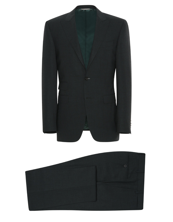 Green mélange stretch wool Milano suit