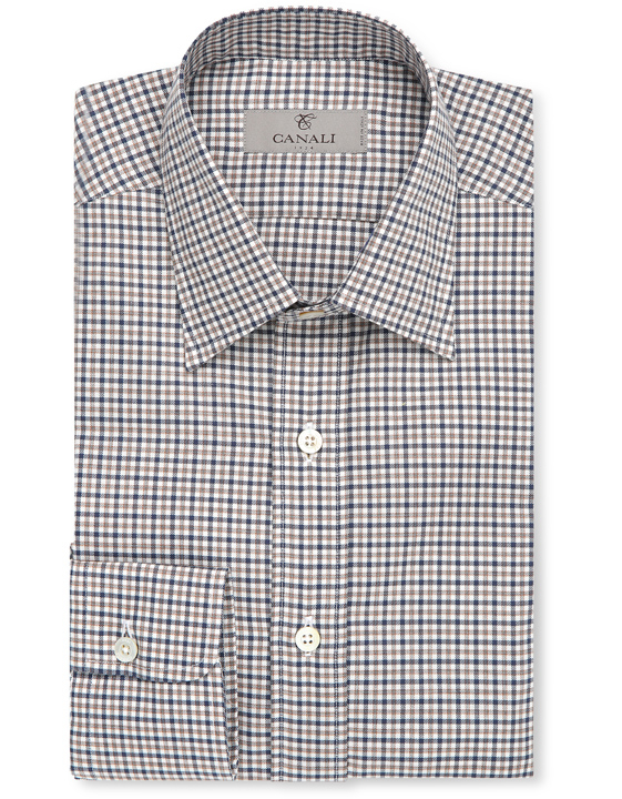 Casual cotton shirt with overlapping blue and brown checks