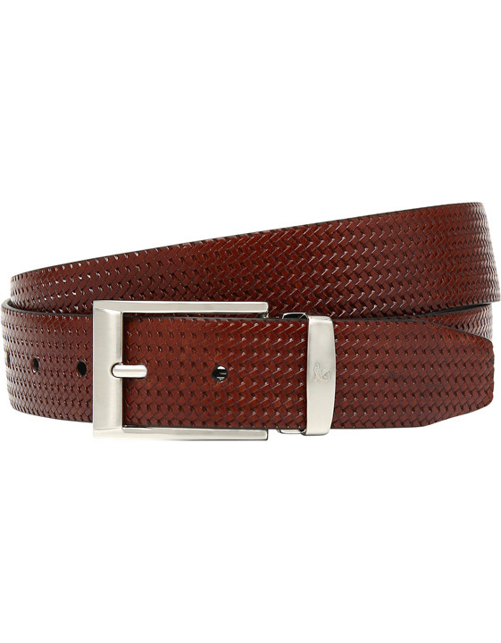 Reversible brown belt with woven texture