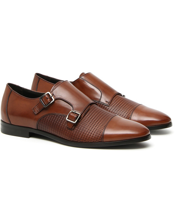 Brown leather double monk strap shoes with woven texture