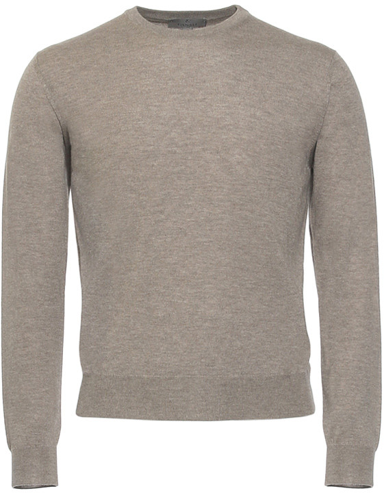 Light Brown Cashmere Crew Neck Sweater