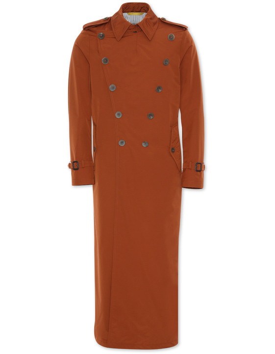 Burnt Sienna Super 150s technical wool double-breasted trench coat