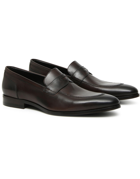Dark brown calfskin leather penny loafers
