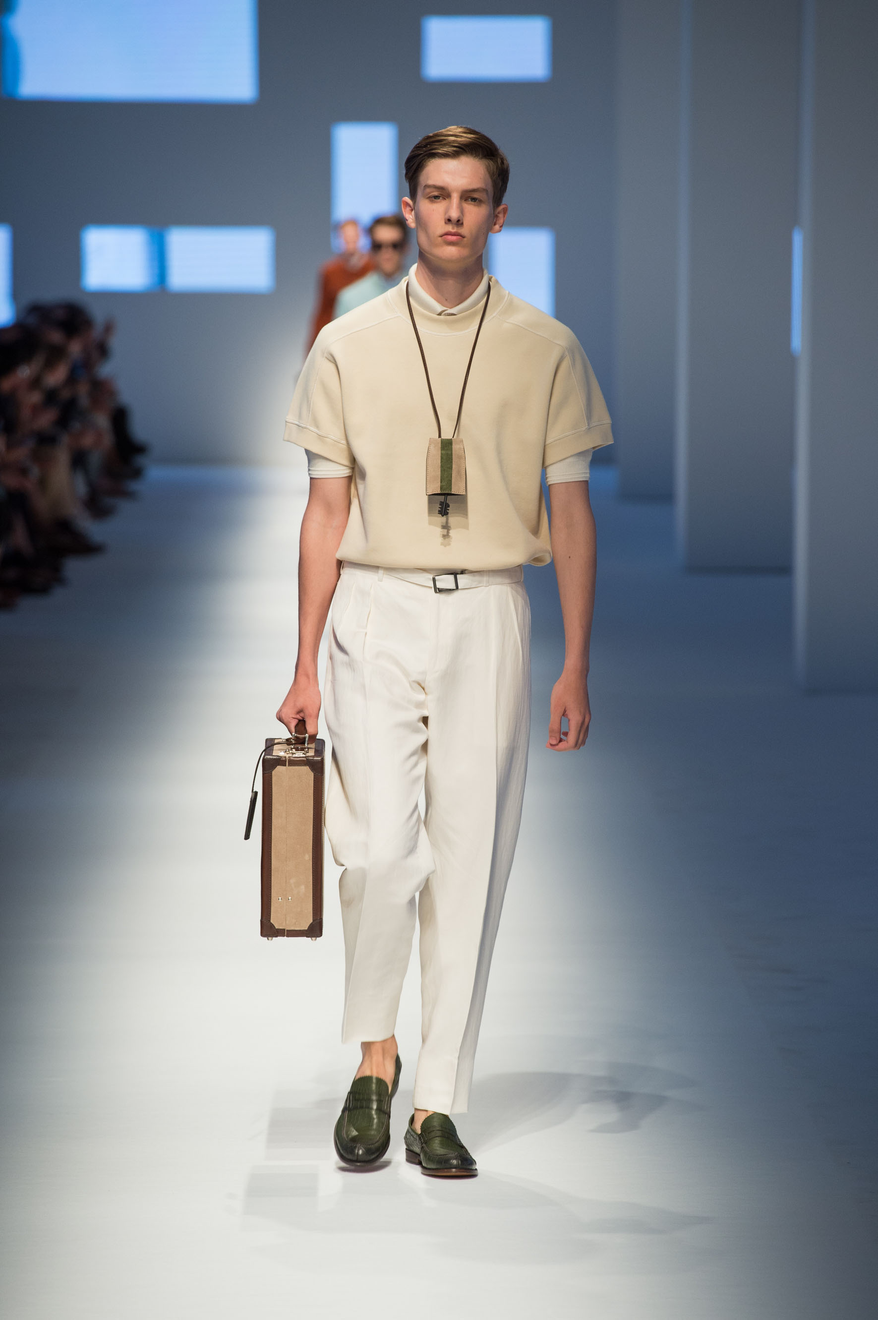 Cotton shirt, cashmere polo, linen-silk pants, crocodile loafers, key holder, briefcase with contrast color stripe