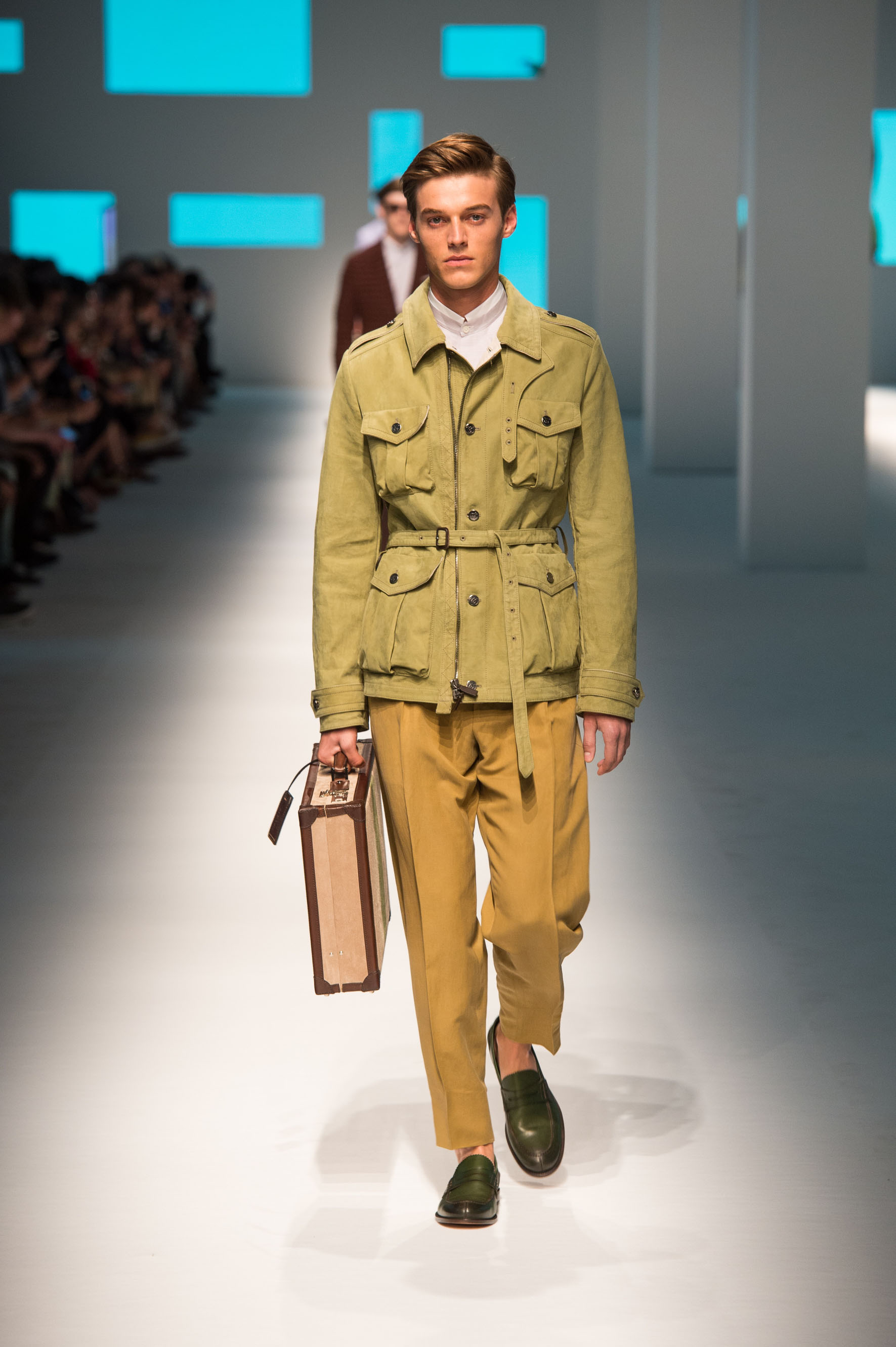 Nubuck field jacket with bellows pockets, linen-silk pants, calfskin loafers, briefcase with contrast color stripe