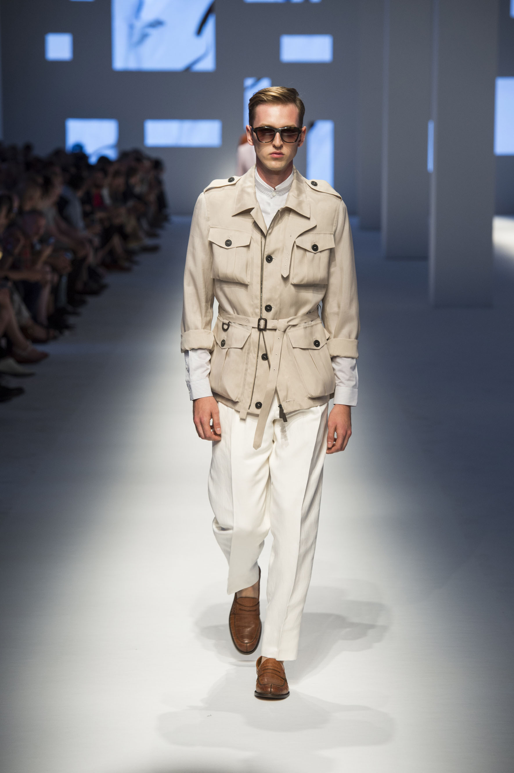 Pure silk field jacket with applied pockets, reverse-pleated pants, double-layer dress shirt, crocodile espadrilles