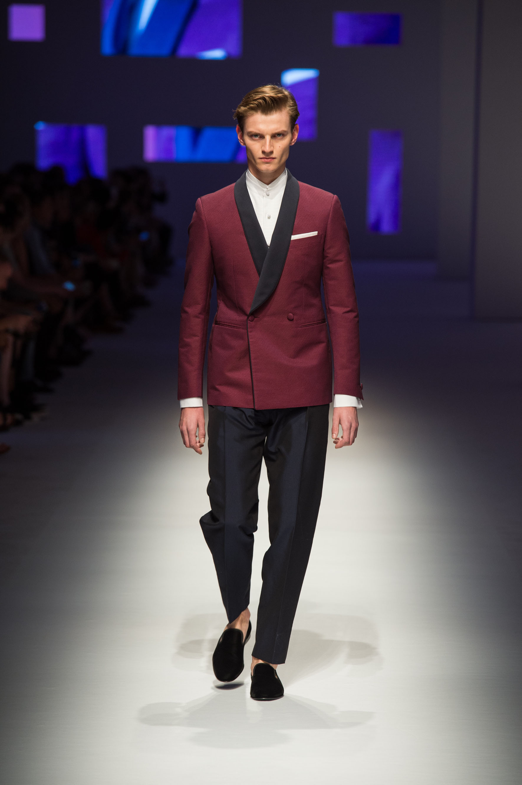 Double-breasted tux with shawl lapels in micro-jacquard, wool-silk pants, pure cotton dress shirt, velvet slippers