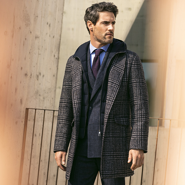 Canali brown checked parka