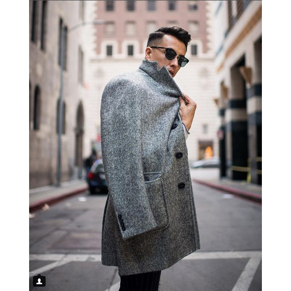 blake scott wearing a Canali coat