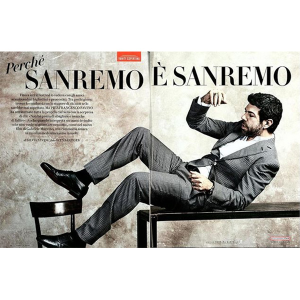 Pierfrancesco Favino wears a Canali suit