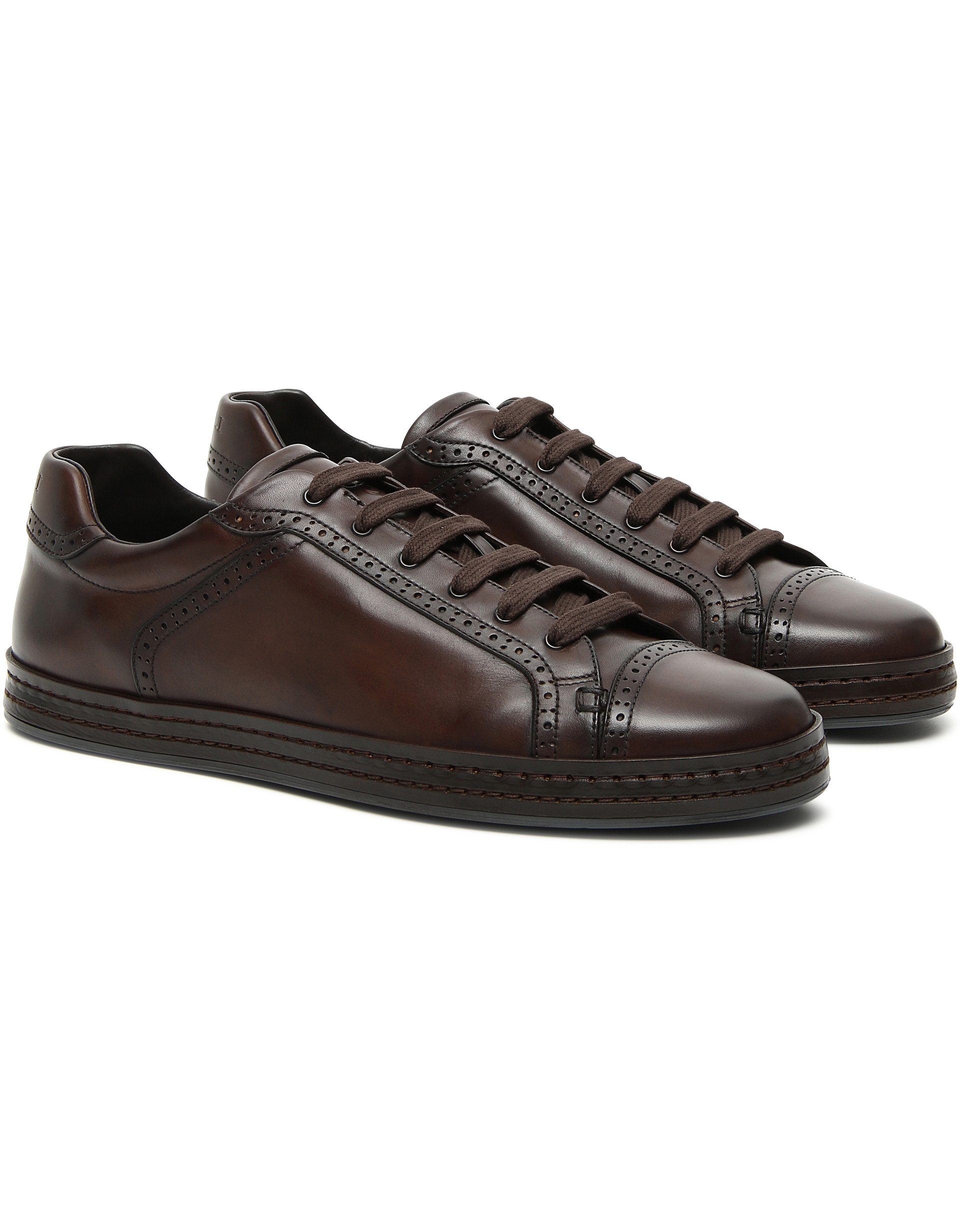 BROWN CRUST CALFSKIN SNEAKERS WITH BROGUE DETAILING