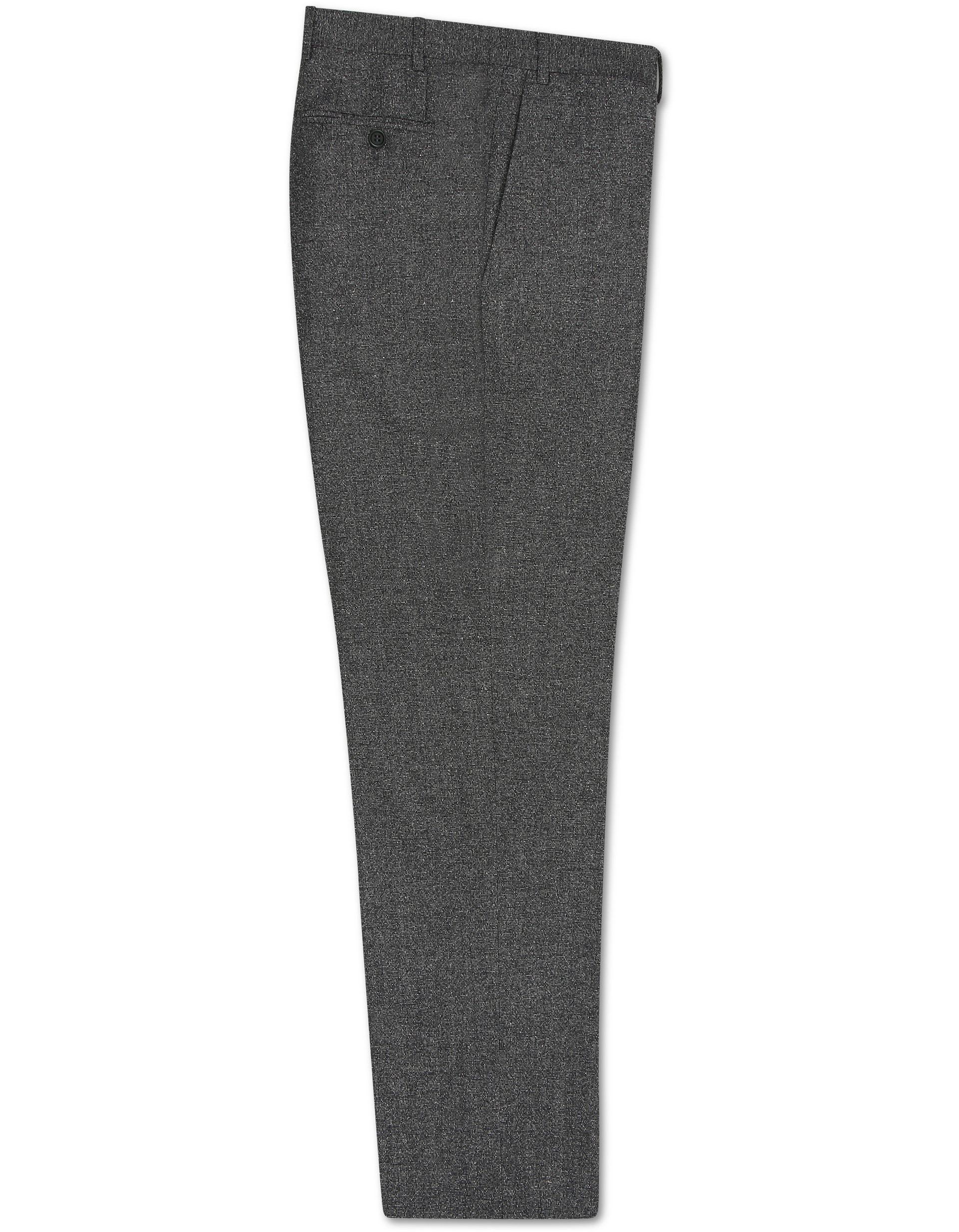 GRAY WOOL-SILK DRESS PANTS WITH MICRO-DOT EFFECT