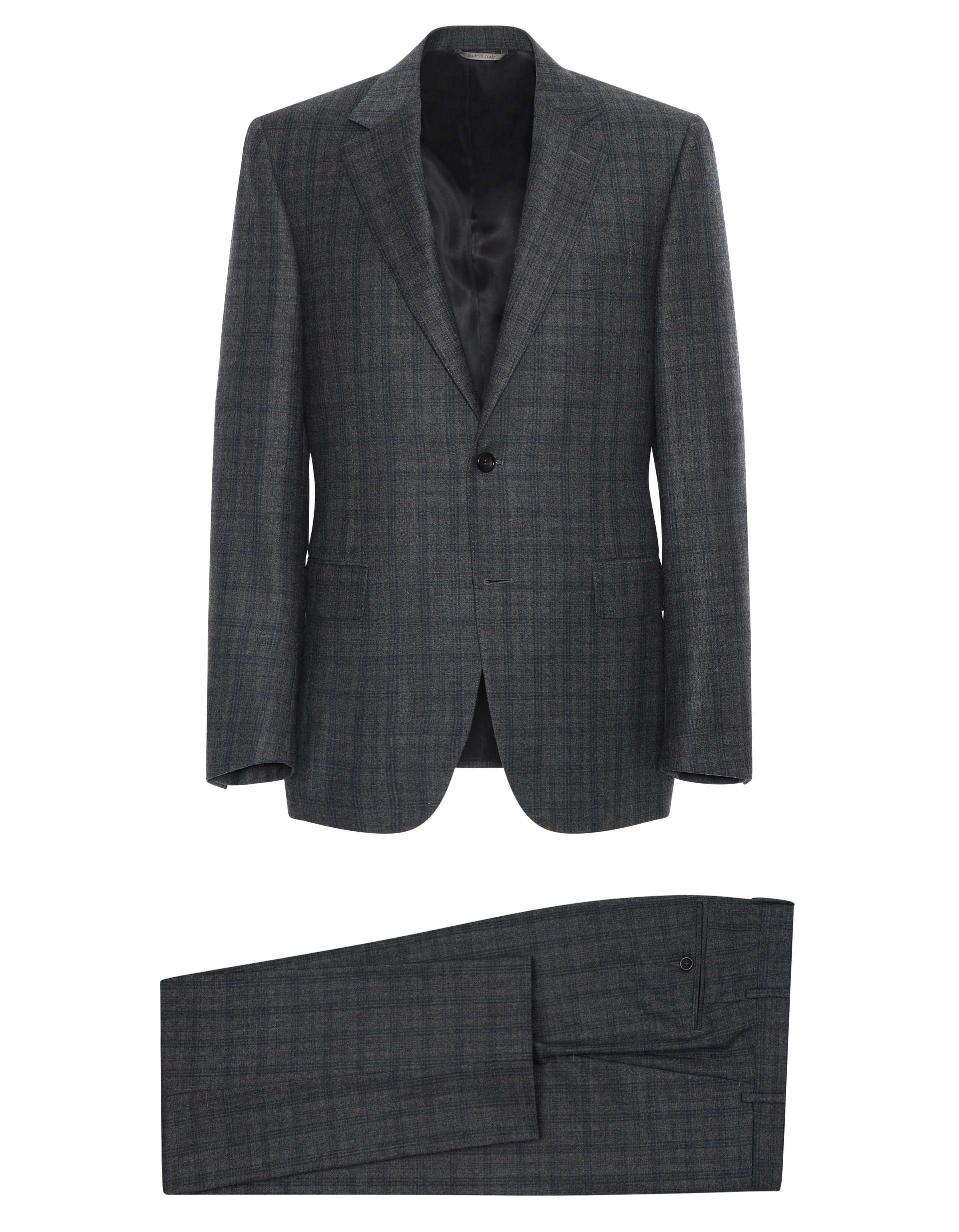 GRAY LIGHTWEIGHT WOOL FLANNEL CAPRI SUIT WITH BLUE PRINCE OF WALES CHECK