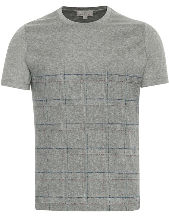 GRAY MERCERIZED COTTON JERSEY T-SHIRT WITH CHECK MOTIF
