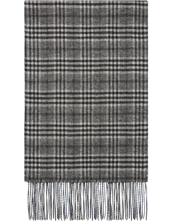 Gray silk and cashmere reversible scarf with Prince of Wales check