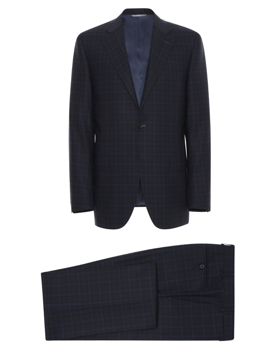 Dark blue Impeccabile wool Venezia suit with overcheck