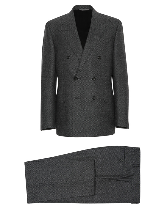Gray wool double-breasted Venezia suit with birds-eye motif