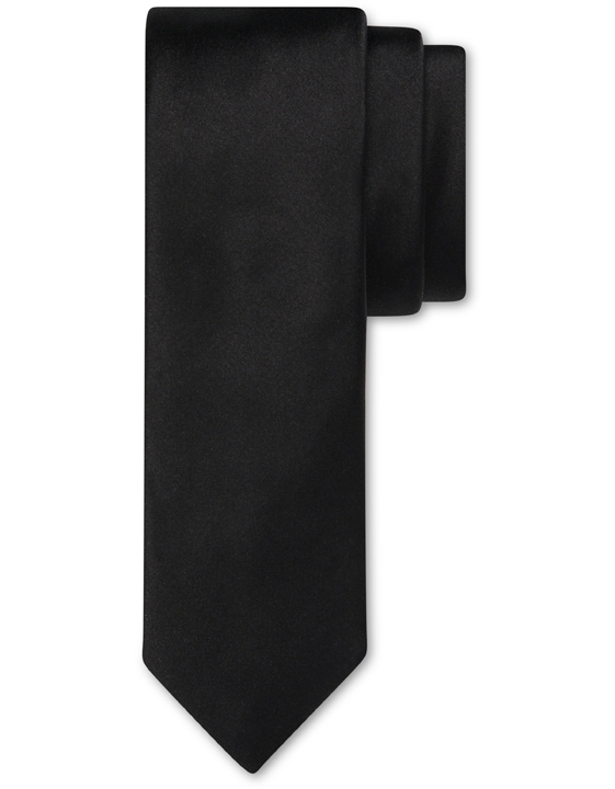 Black pure silk tie