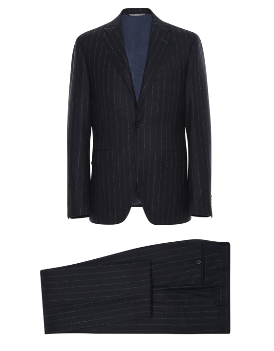 Dark blue wool Capri suit with chalk stripes