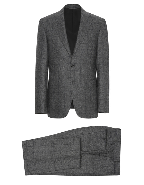 Gray mélange wool Capri suit with blue overcheck