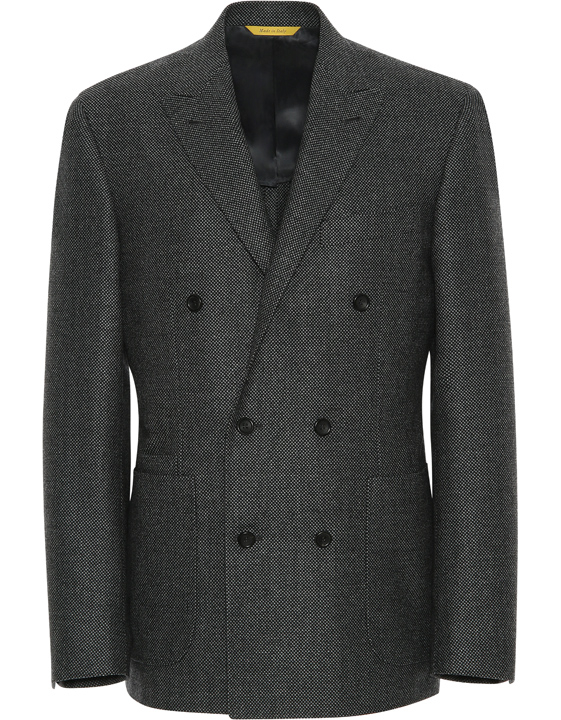 Black Impeccabile wool double-breasted blazer with birds-eye motif