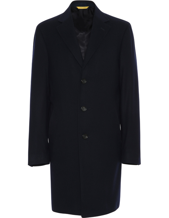 Dark blue Super 170s wool and cashmere Kei overcoat