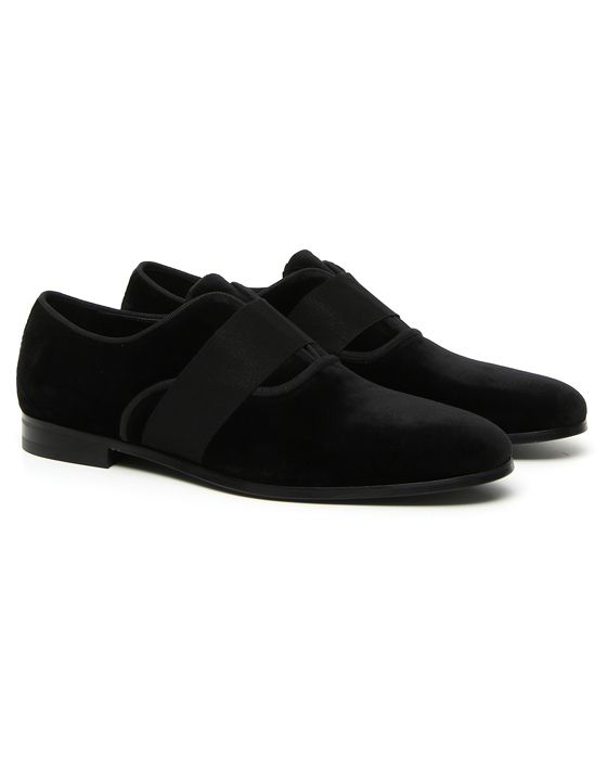 BLACK VELVET EVENING LOAFERS