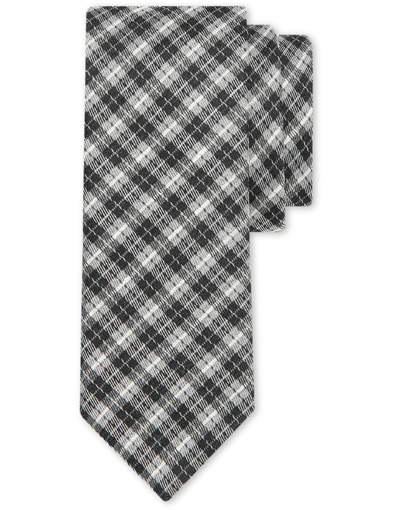 Gray and black wool-silk tie with tartan motif