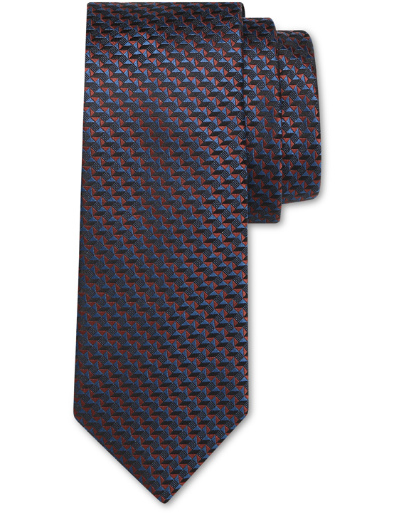 Blue and Bordeaux pure silk tie with geometric motif
