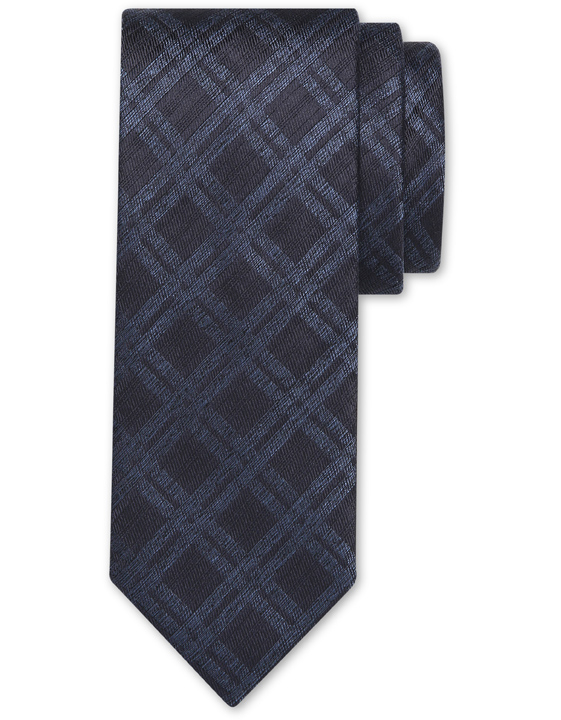 Navy blue pure silk tie with diamond motif