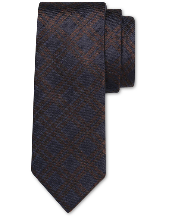 Blue and brown pure silk tie with diamond motif