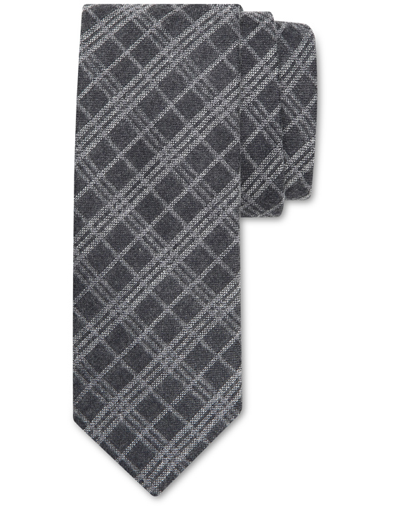 Gray wool and silk tie with tartan motif