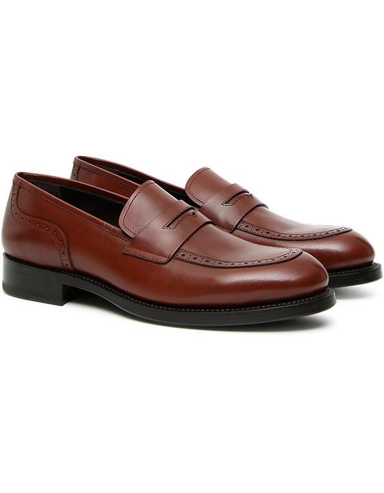 brown leather penny loafers with rubber sole