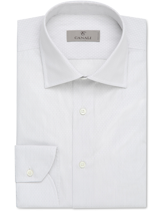 White cotton dress shirt with gray pinstripes