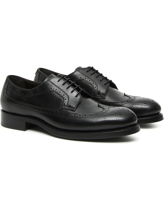 Black vegetable-tanned brogue Derby shoes