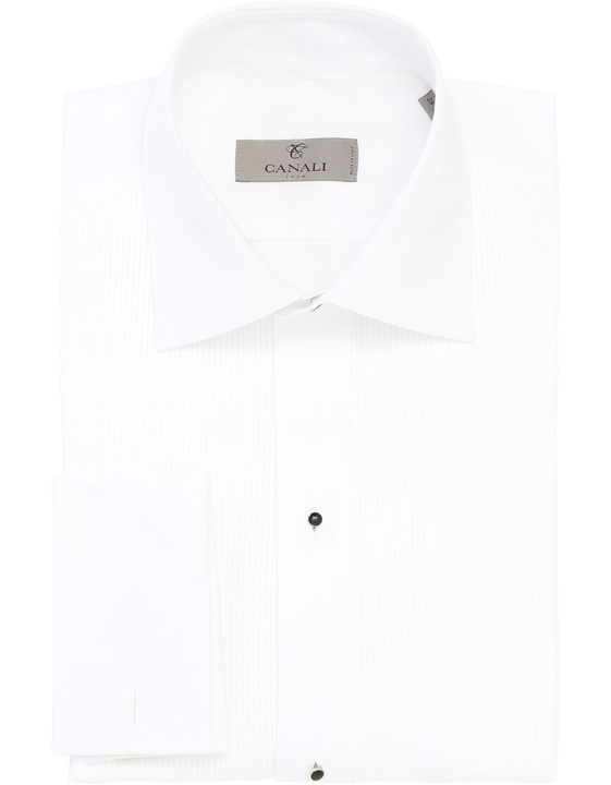 WHITE COTTON PLEATED DRESS SHIRT