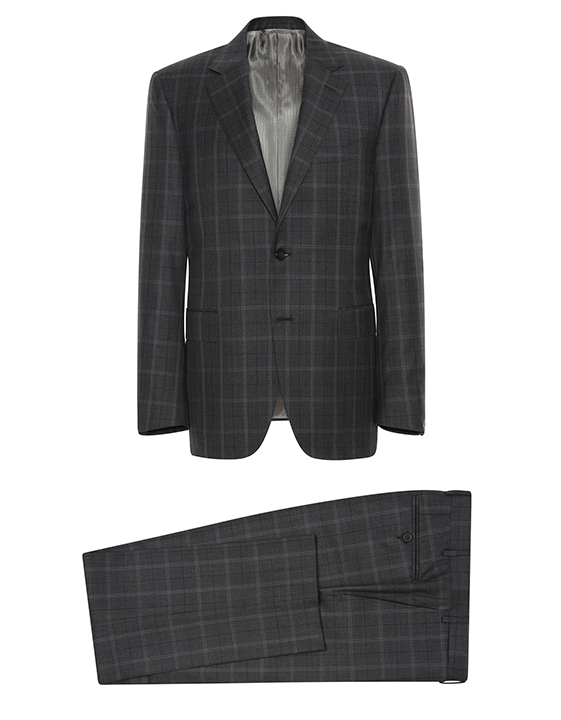 GRAY SUPER 150S WOOL WINDOWPANE SIENA SUIT WITH TOP CONSTRUCTION