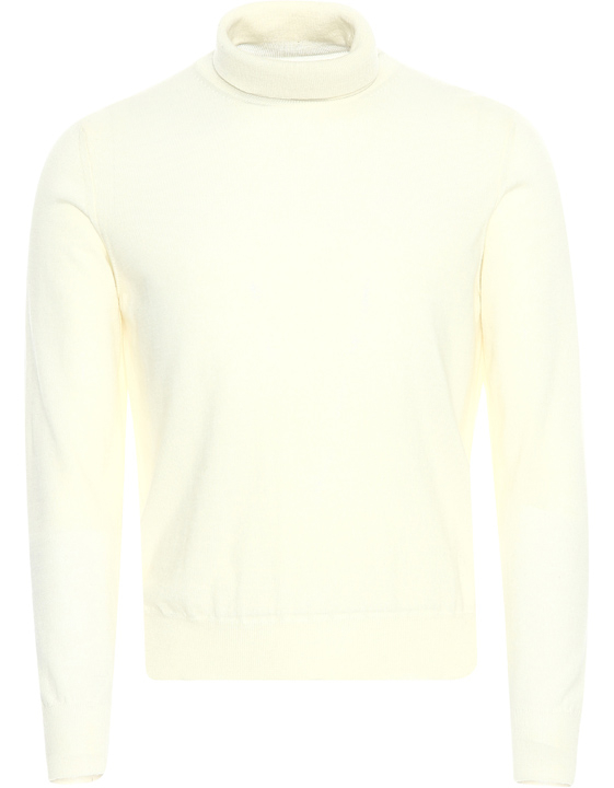 Ivory merino wool high-neck sweater