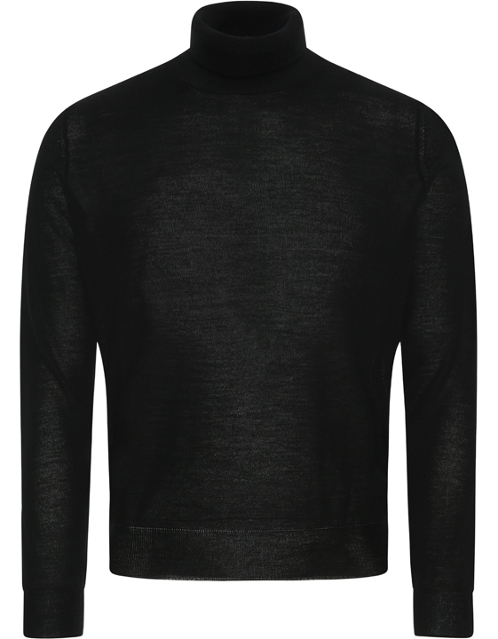BLACK MERINO WOOL HIGH-NECK SWEATER