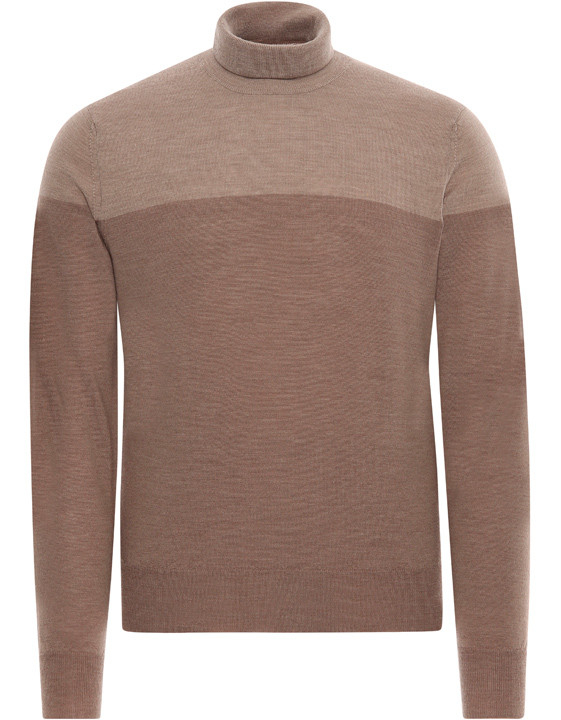 BROWN AND BEIGE MERINO WOOL HIGH-NECK SWEATER