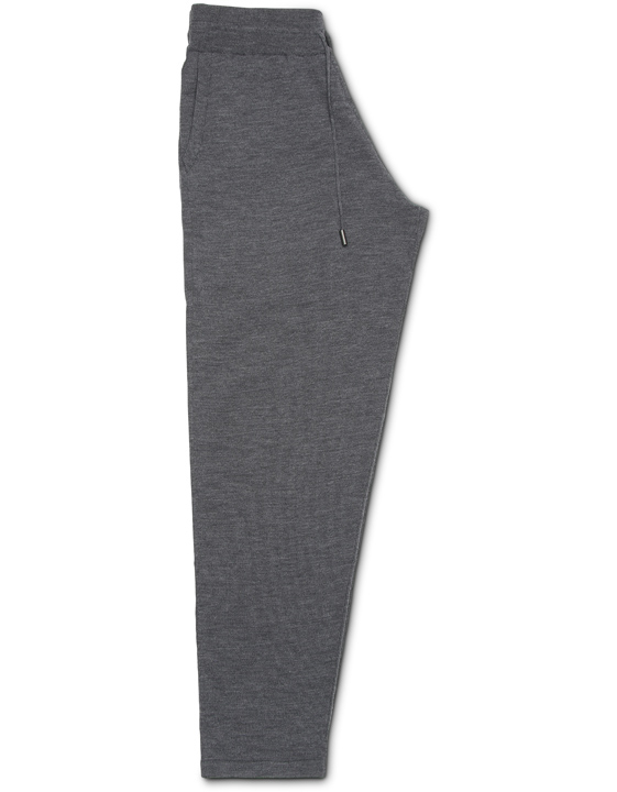 Dark gray merino wool leisure drawstring pants
