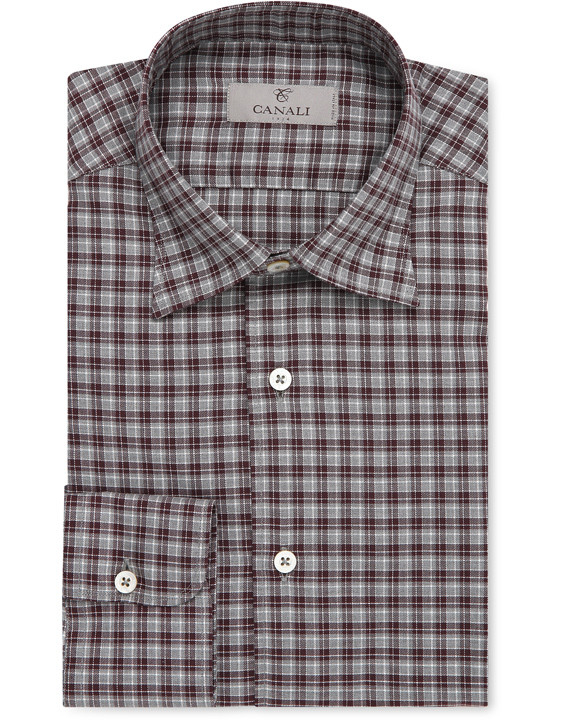 BORDEAUX AND GRAY TARTAN CHECK COTTON SHIRT