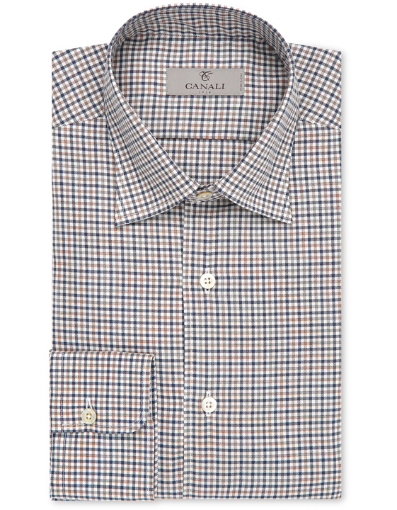 Cotton slim fit shirt with blue and beige micro-checks
